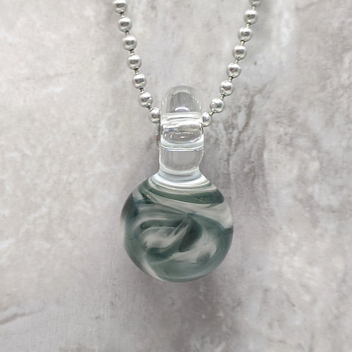 Blue and White Disk Shaped Glass Pendant