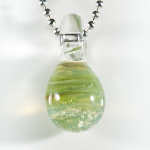 (Members) Green Teardrop Memorial Glass Pendant