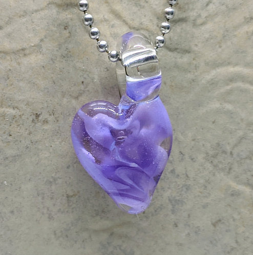 Purple Heart Shaped Glass Pendant