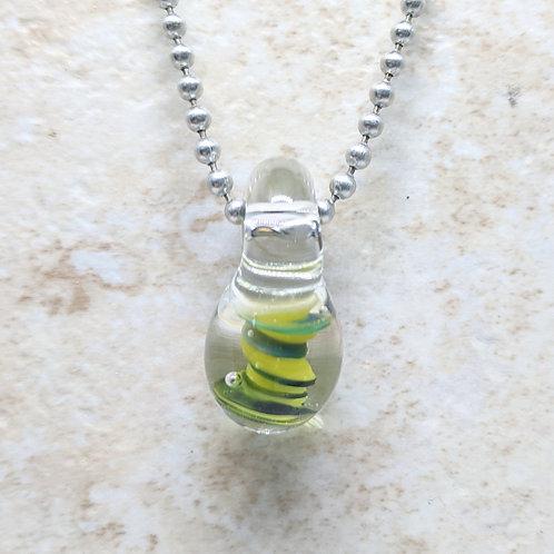 Encased Green Teardrop Shaped Glass Pendant