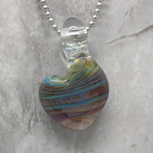 Blue and Purple Heart Shaped Glass Pendant