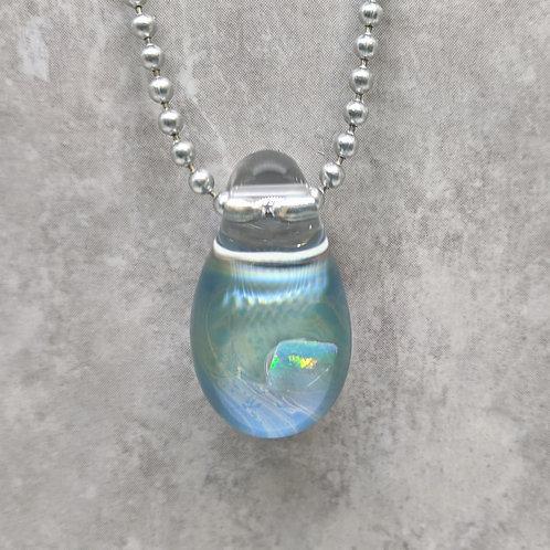 Aqua Glass Pendant with Encased Opal Stone