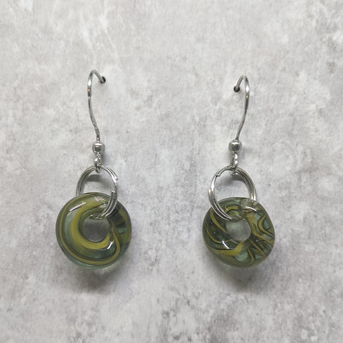 Green Glass Hoop Earrings