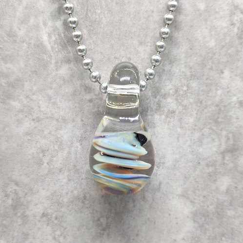 Black and Multi-Colored Teardrop Shaped Glass Pendant