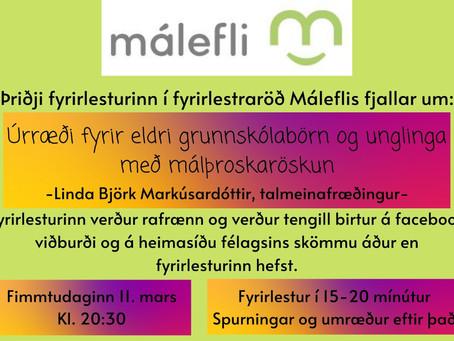Fyrirlestur - Úrræði fyrir eldri grunnskólabörn og unglinga með málþroskaröskun