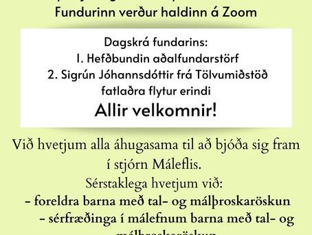 Aðalfundur Máleflis 20. apríl kl: 20:30 á Zoom