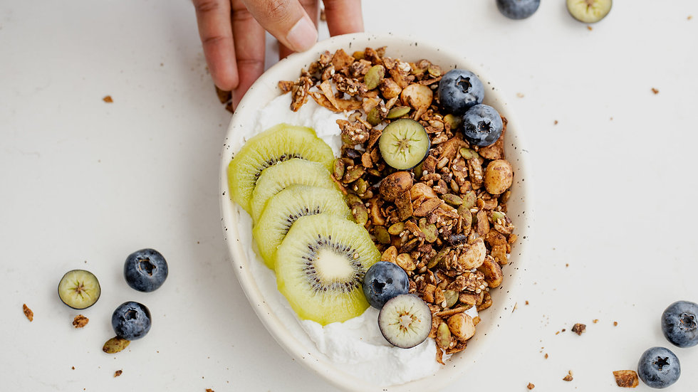 healthy granola with kiwi fruit