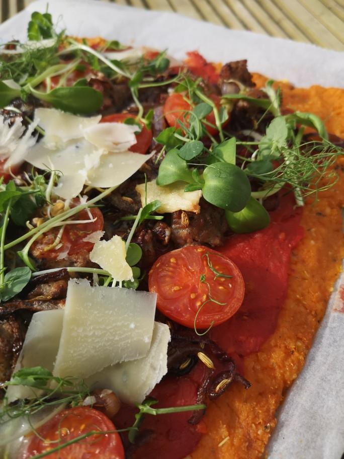 Gluten Free Pizza with Sweet Potato Crust