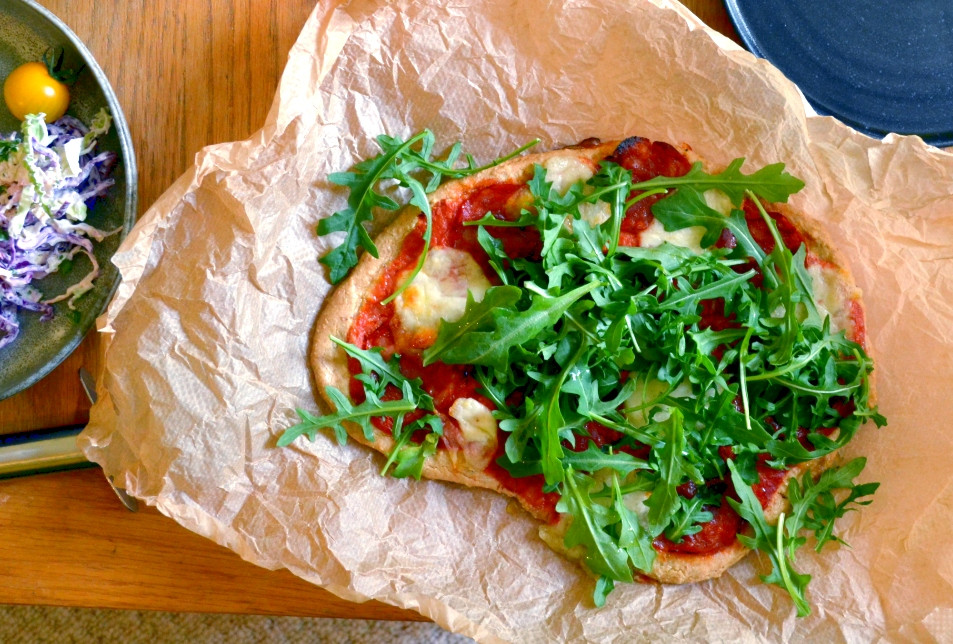 Grain free pizza base with chorizo and rocket