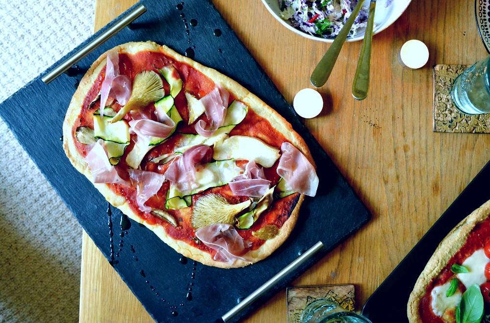 Grain free prosciutto and mushroom pizza