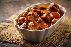 currywurst  sliced with curry ketchup