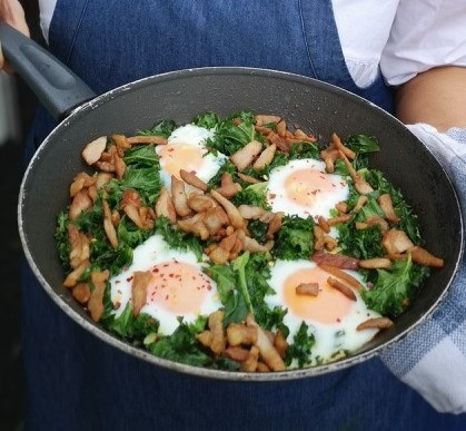 Kale with Primal Bacon and Eggs
