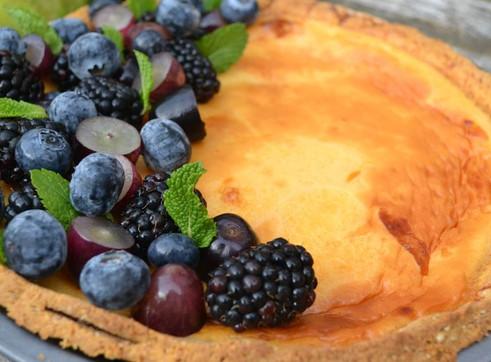 Autumn Berries on Baked Custard Tart Recipe