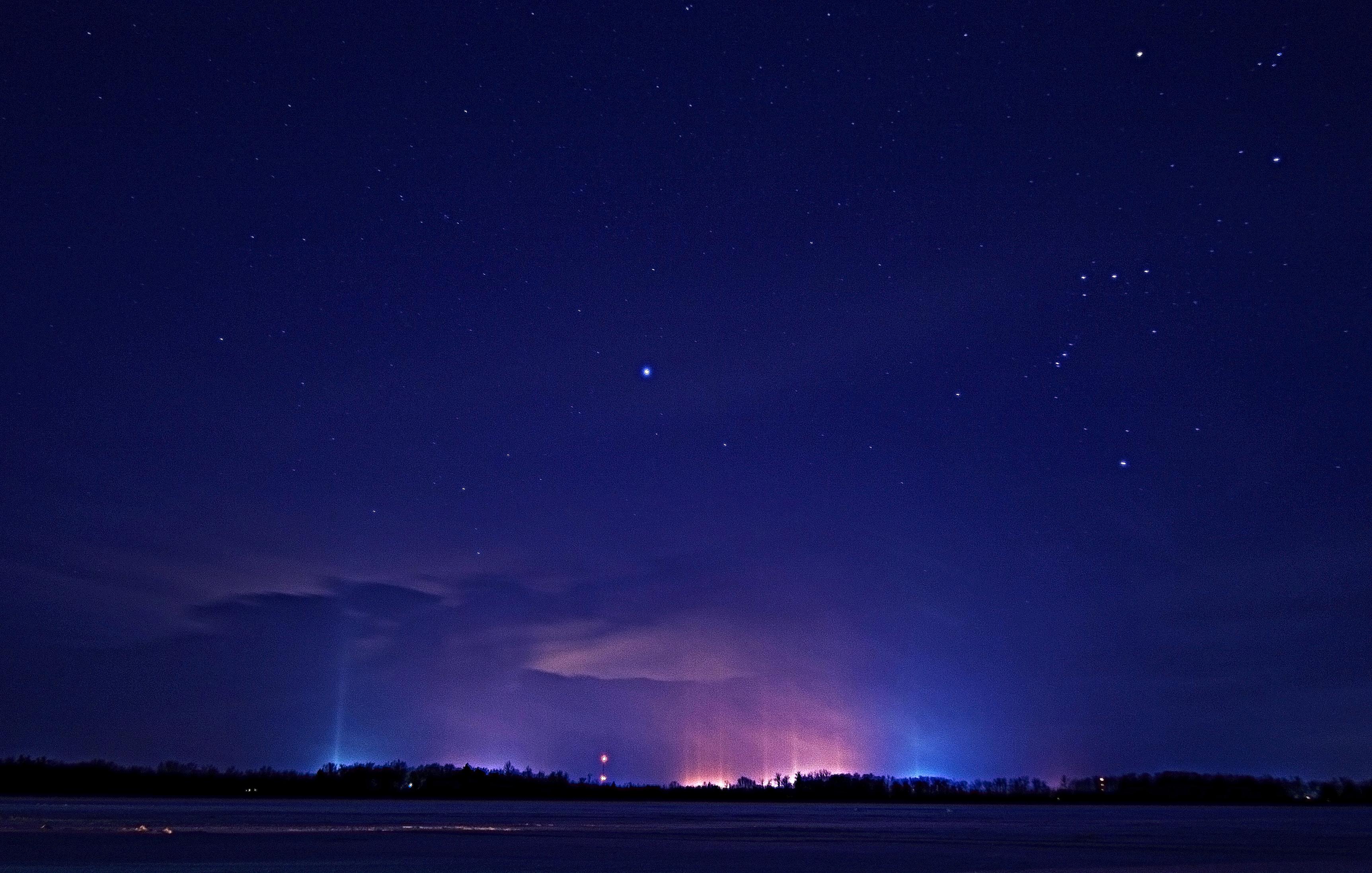 Light Pillars from Delton. Wall Lake Feb 2015