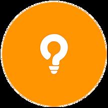 Kreis mit Glühbirnen-Logo