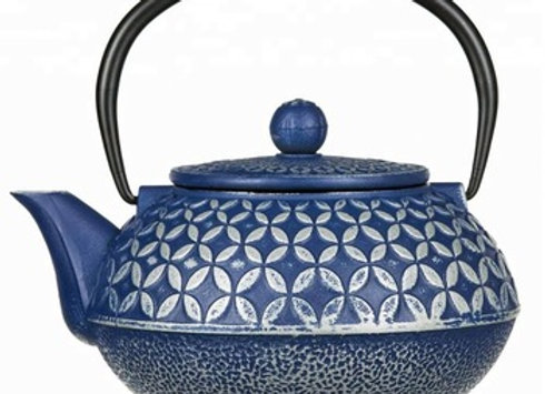 Big Blue Cast Iron Teapot