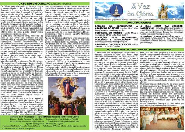 A Voz da Glória  edição 032 - Agosto 2018 - 32ª semana