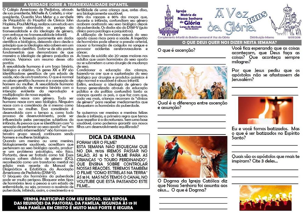 Boletim semanal da Paróquia Matriz de Nossa Senhora da Glória