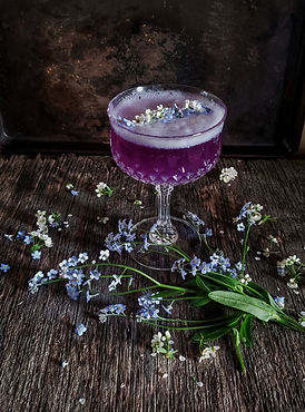 Butterfly pea cocktail in vintage glass