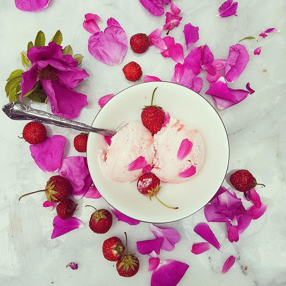 Wild Rose and Strawberry Ice Cream