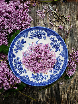lilac blossoms in a vintage bowl