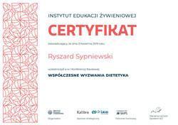 certyfikat wspolczesne wyzwania dietetyk