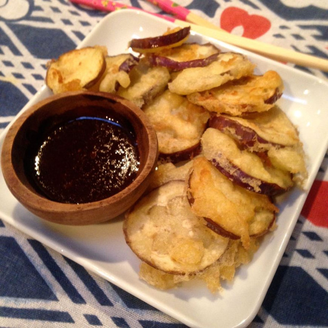 EGGPLANTS AROUND THE WORLD: EGGPLANT TEMPURA WITH DENGAKU SAUCE