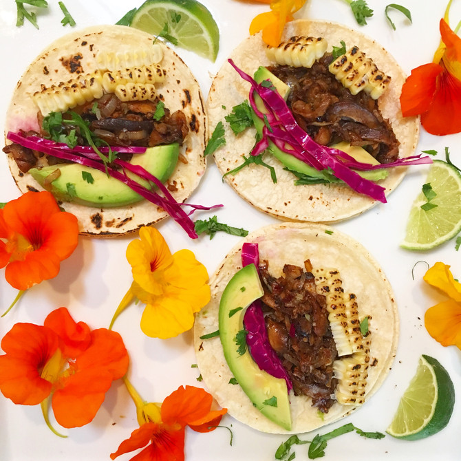 MUSHROOM TACOS WITH BLACKENED CORN, AVOCADO, AND SWEET PICKLED CABBAGE