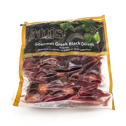 WS-Attis Gourmet Greek Black Olives 400gX6