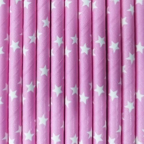 Estrellas Fondo en Rosa Bebe 6x210mm paquete de 500 piezas