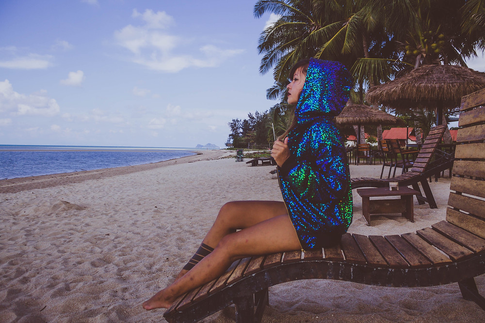 lady jane bristol sequin playsuit beach lookbook campaign under a palm tree photography mermaid sequin bomber jacket