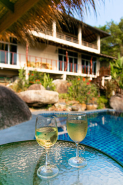 wine glasses by the pool villa photograp
