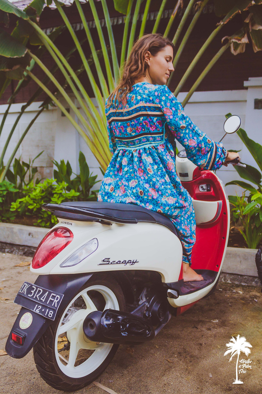 turquoise dress bohemian floral motorbike bali