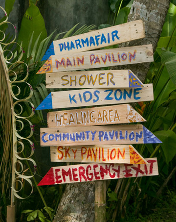 sign post, festival photography, event photography, under a palm tree, bali spirit festival, retreat photographer