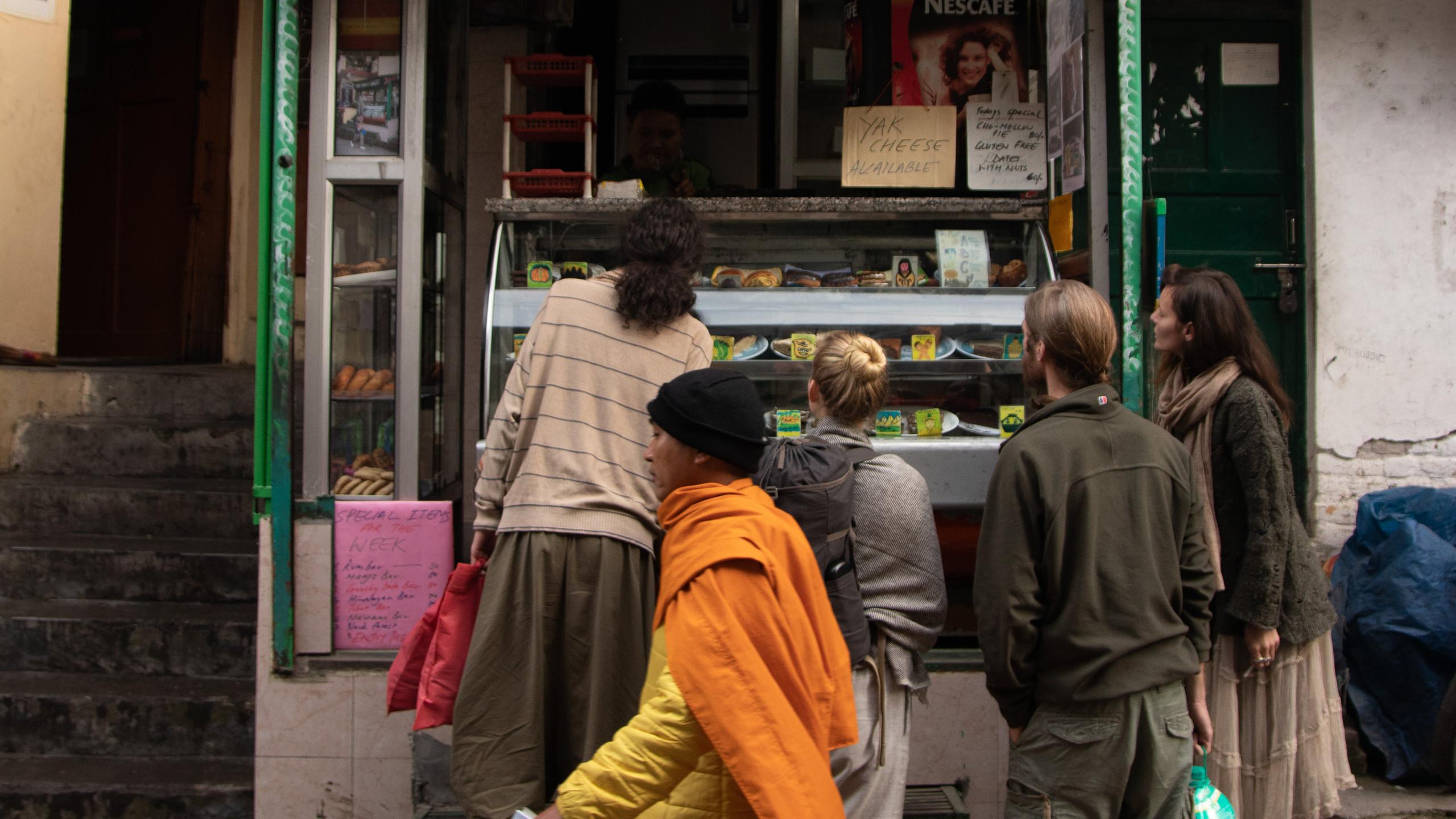 Tibetan monk by the Tibetan bakery