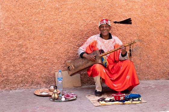 marrakech, local busker, classic sitar, morocco