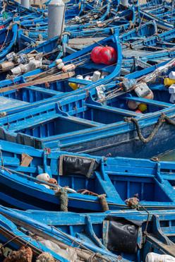 fishing yard blue boats harbourside essaouria morocco