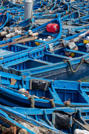 fishing yard blue boats harbourside essaouria morocco