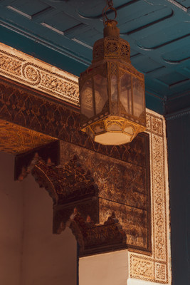 islamic architecture, engraved ceiling, lanterns, marrakech,