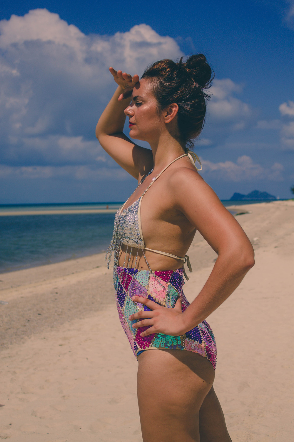 lady jane bristol sequin harlequin shorts beach lookbook campaign under a palm tree photography