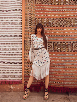marrakech, fringed 70s dress, carpets, morocco photoshoot, fashion campaign