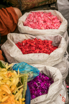 flower petals market seller denpasar bali offerings hindu