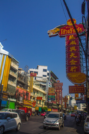 bangkok, china town, red sign, street photography, travel photography, under a palm tree,
