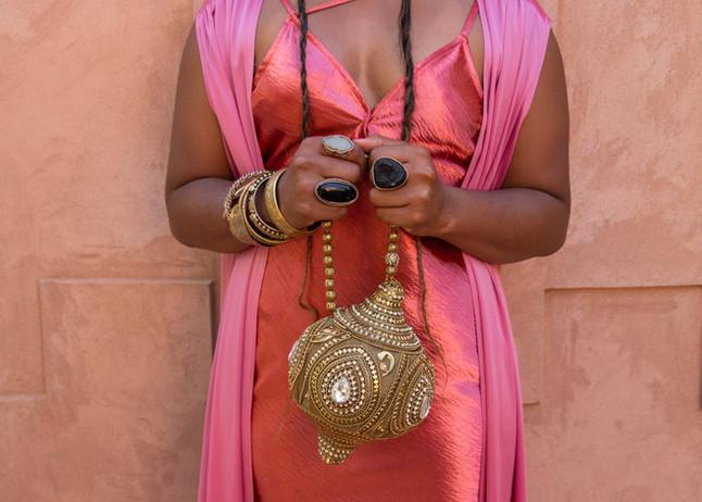 black girl khronicles under a palm tree marrakech morocco photoshoot campaign fashionweek pink fka twigs