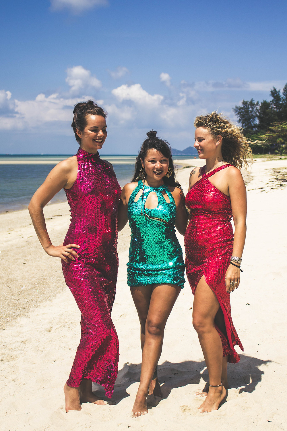 lady jane bristol sequin playsuit beach lookbook campaign under a palm tree photography sequin dresses