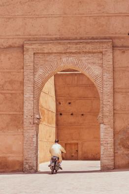 archway marrakech, man motorbike, morocco,