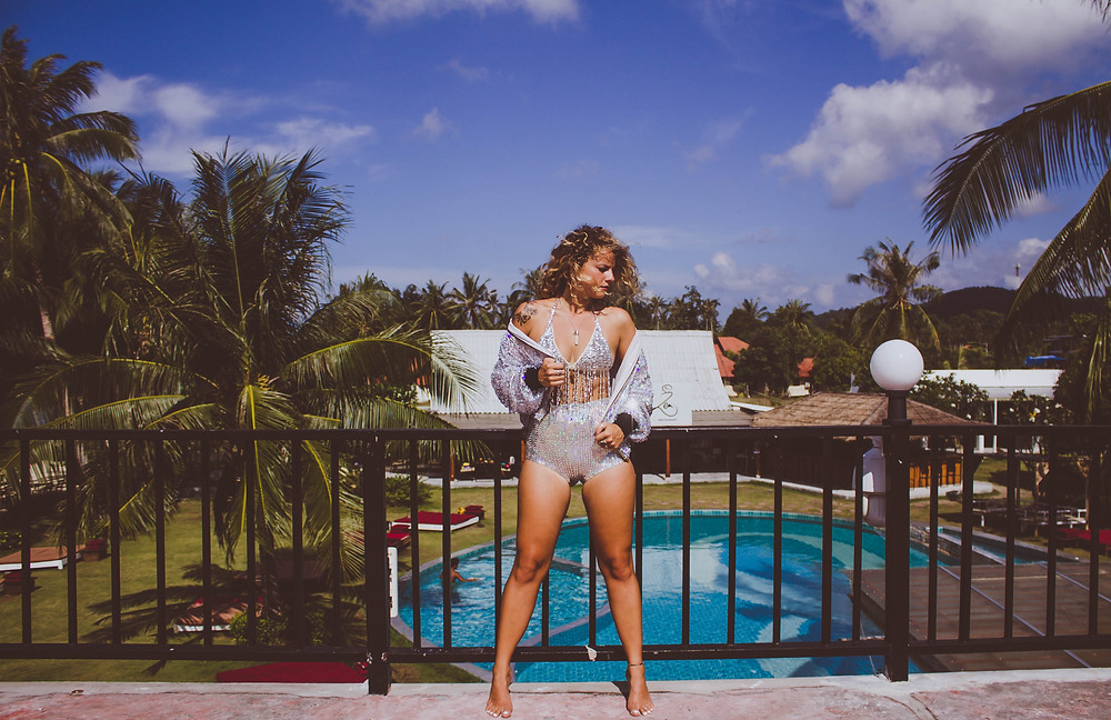 lady jane bristol sequin playsuit beach lookbook campaign under a palm tree photography