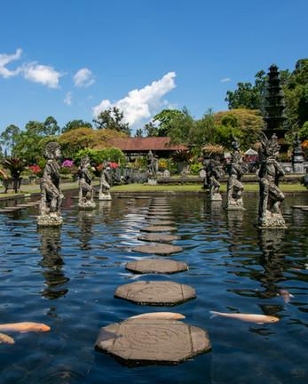 bali garden of eden, paradise, wanderlust, travel photographer, under a palm tree photography, stepping stones, koi carp