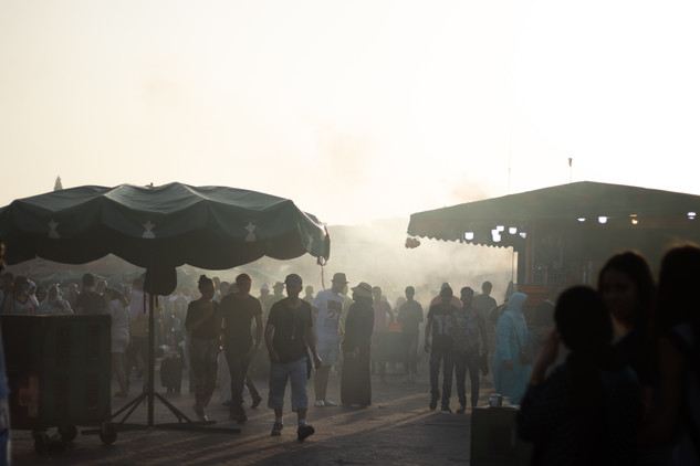 jemaa el fna market haze sunset