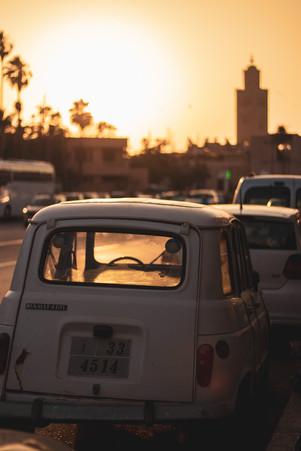 marrakech sunset car mosque travel photography jemaa el fna